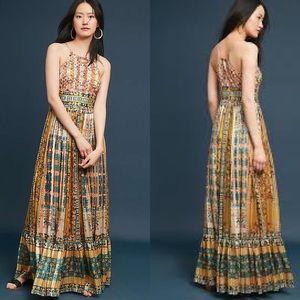 {Anthro} Bhanuni Larache Beaded Maxi Dress